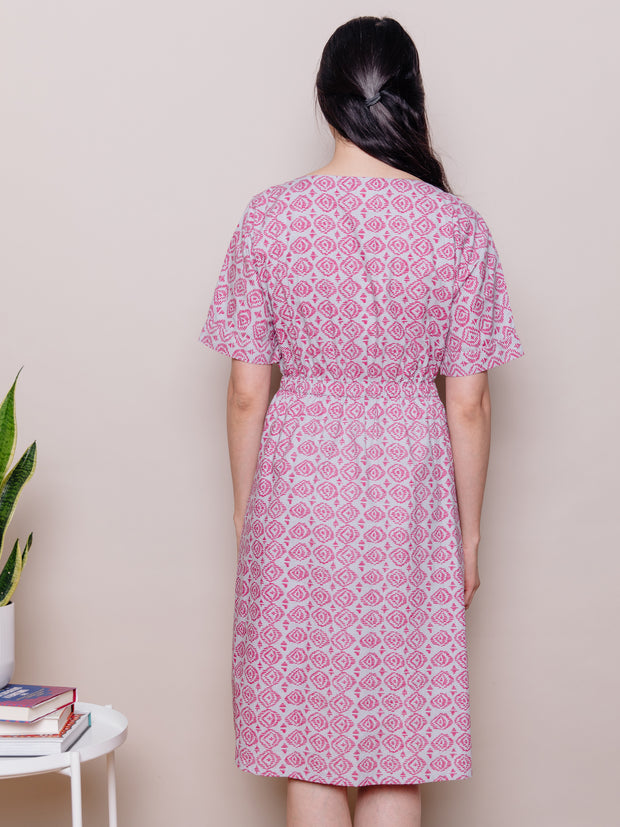 Roo Elastic Waist Dress Pink Diamond