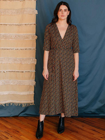 Aditi Wrap Dress Green Spots