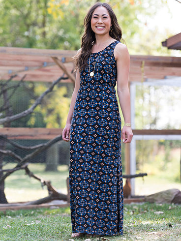 Anais Maxi Dress Black Mosaic