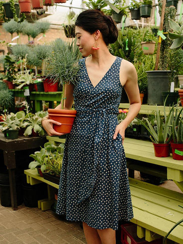 Ana Wrap Dress Blue Dots
