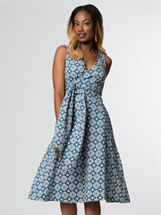 Ana Wrap Dress Blue Tile