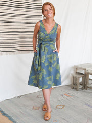 Ana Wrap Dress Grey Palms