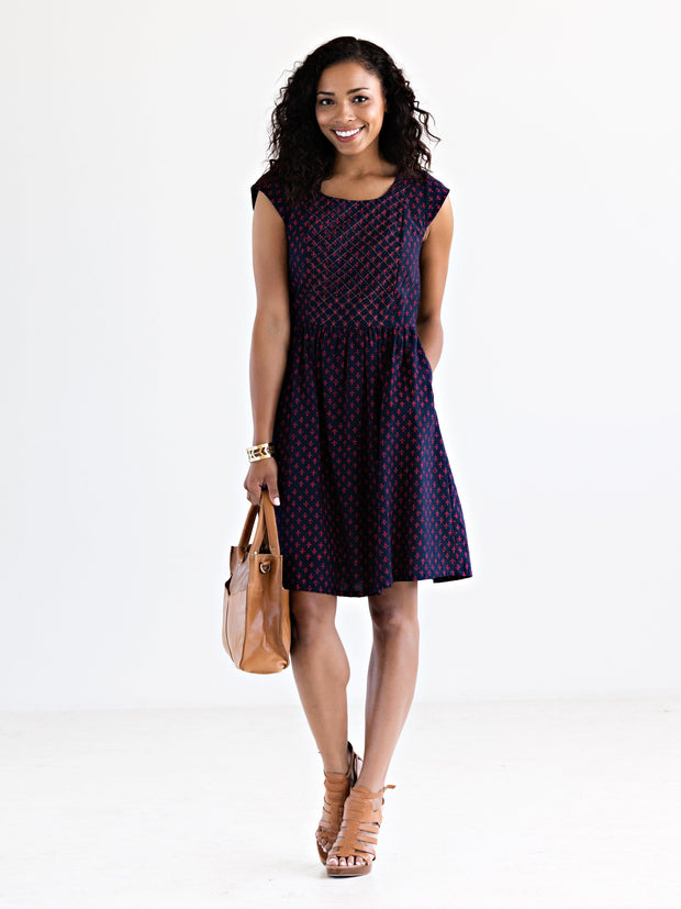 Anika Scoop Dress Navy/Red
