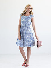 Anika Scoop Dress White/Blue