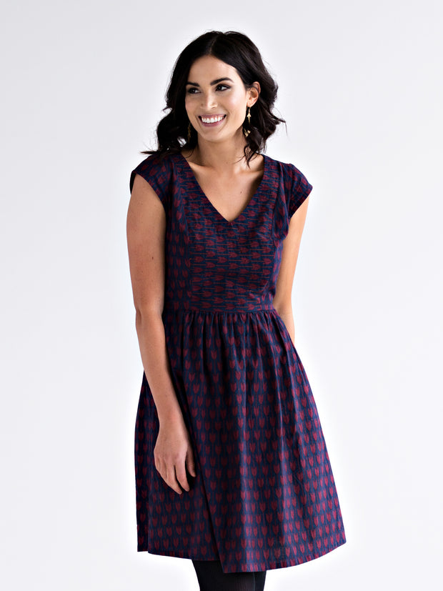 Aurora V-Neck Dress Plum