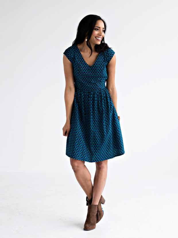 Aurora V-Neck Dress Turquoise