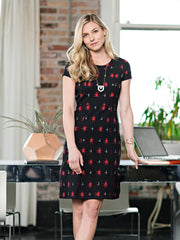 Bella Dress Black/Red Ikat