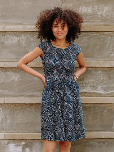 Belltown Dress Navy Tapestry