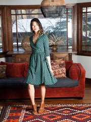 Callie Wrap Dress Teal Bloom 1X-2X