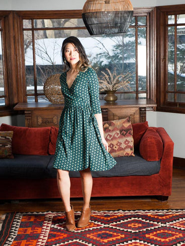 Callie Wrap Dress Teal Bloom