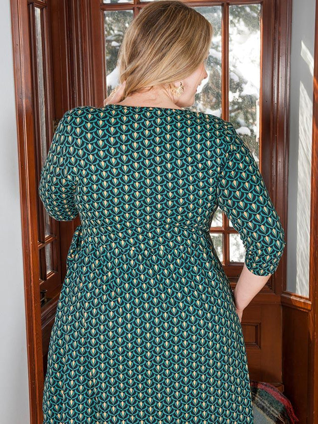Callie Wrap Plus Size Dress Teal Bloom