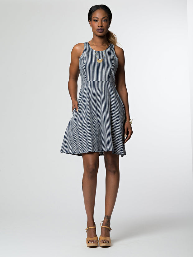Cecilia Dress Navy Stripes