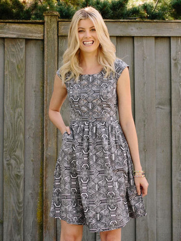 Chilmark Dress Black/White Geo