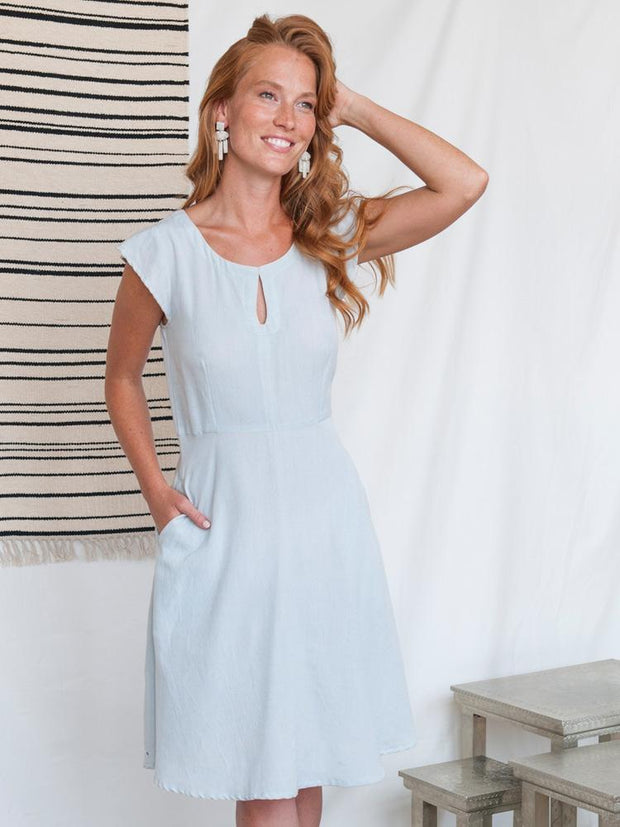 Corsica Flutter Dress Ice Blue