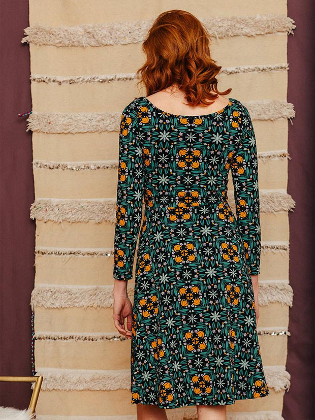 Delilah Long Sleeve Dress Teal Tile