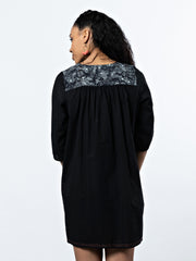 Devi Embroidery Dress Black