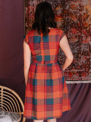 Devonshire Dress Persimmon Plaid