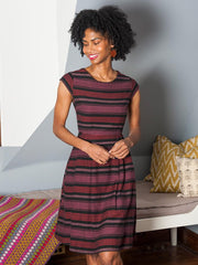 Devonshire Dress Plum Stripe