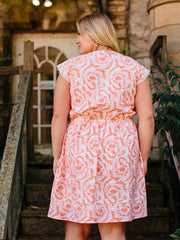 Dotted Trim Plus Size Dress Coral