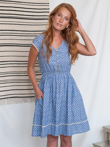Dotted Trim Dress Chambray