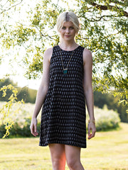 Fresco Shift Dress Black Ikat