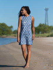 Ikat Polo Dress Blue