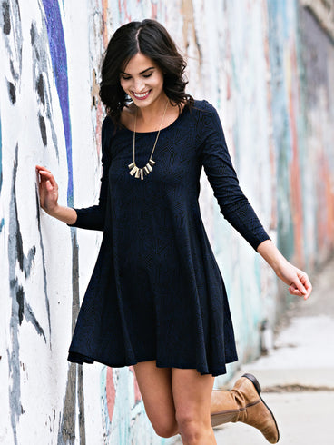 Knit Flounce Dress Indigo