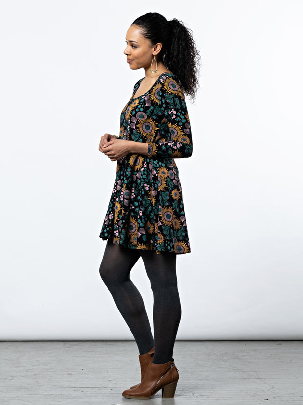 Knit Flounce Dress Black Floral