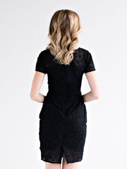 Lace Overlay Dress Black