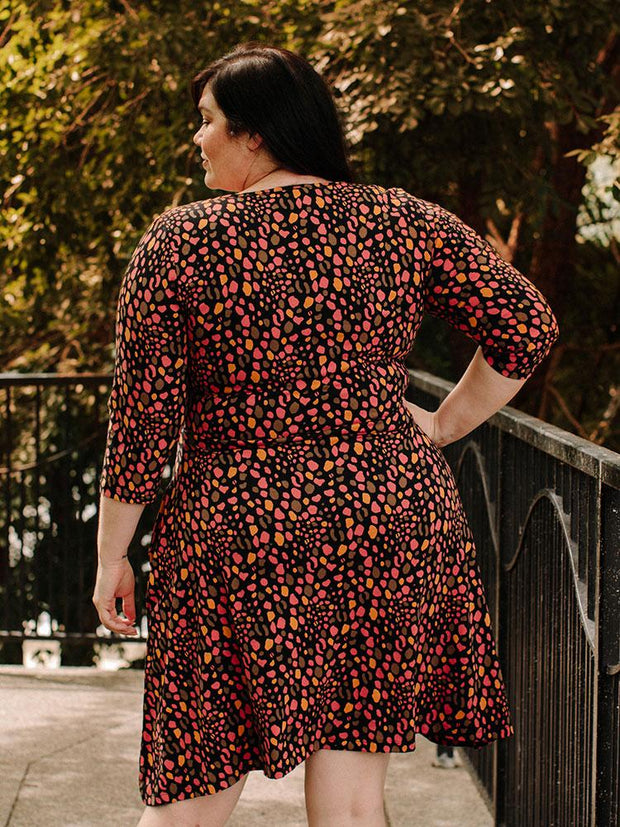 Long Sleeve Callie Plus Size Wrap Dress Pink Spots