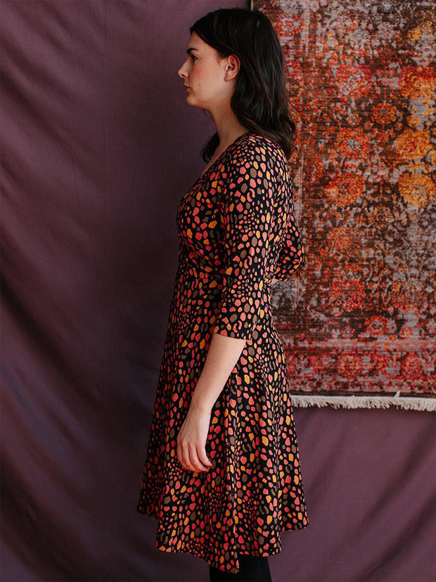 Long Sleeve Callie Wrap Dress Pink Spots