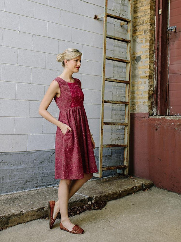 Lucca Dress Red/Tan