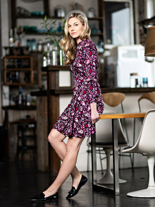 Mandarin Shirtdress Fuchsia