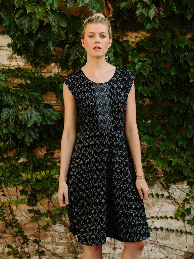 Marseille Dress Black Ikat