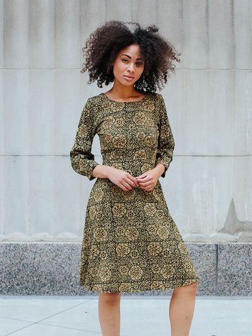 Marseille Long Sleeve Dress Gold