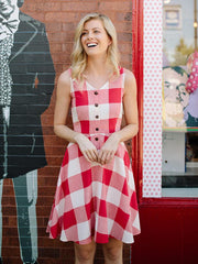 Midsummer Dream Dress Red Plaid