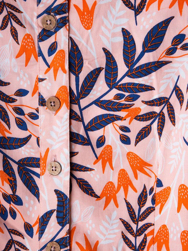 Monterey Shirtdress Peach/Navy