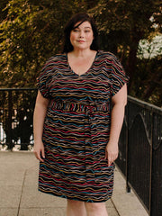 Montrose Plus Size Midi Dress Wobbly Stripe