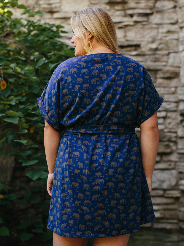 Montrose Tie Plus Size Dress Elephants