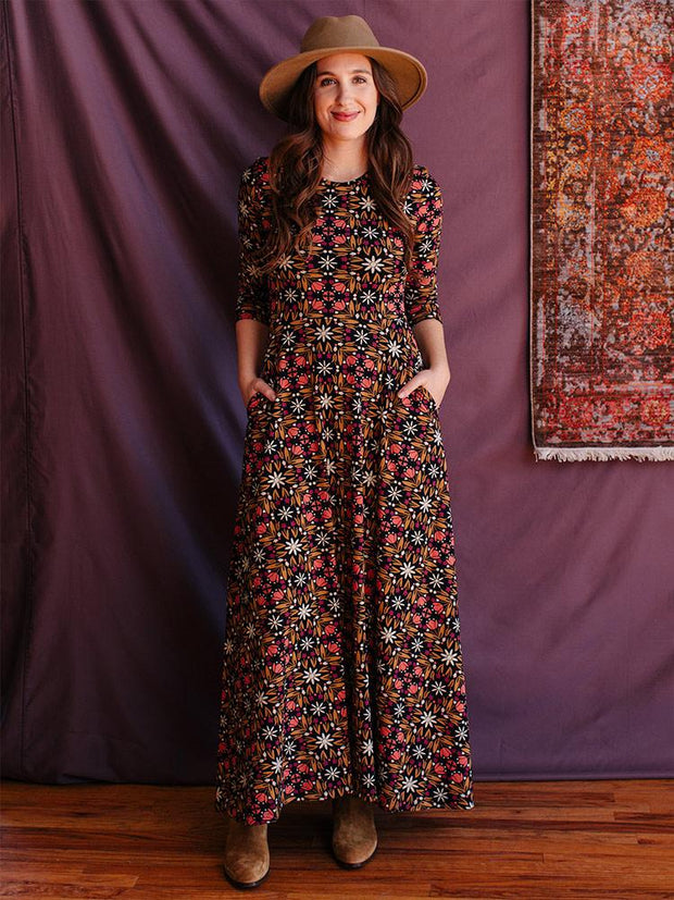 Mumbai Maxi Dress Mauve Tile