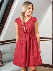 Nashville Dress Red Geo