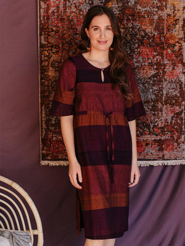 Nisha Dress Plum Stripe