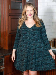 Nola Swing Dress Teal Foxes 1X-2X