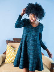 Nola Swing Dress Teal Foxes