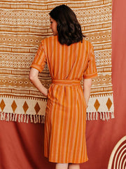 Notched Collar Shirtdress Rust