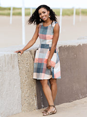 Oxford Pocket Dress Pink Plaid