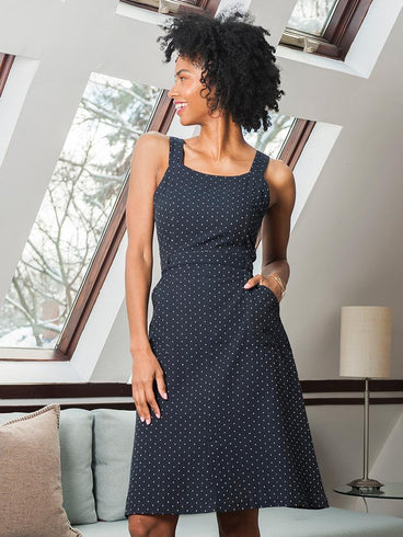 Pinafore Dress Navy Dots
