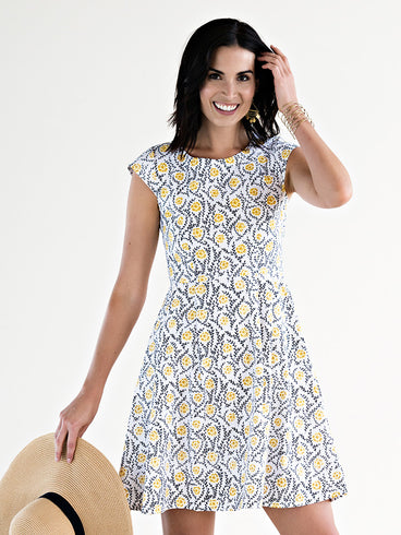 Pop Of Floral Dress Yellow