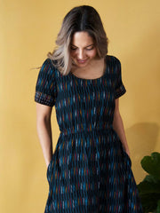 Reversible Stitch Dress Black Ikat