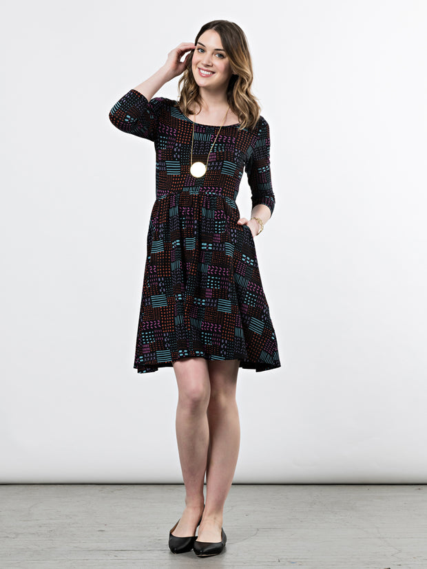 Rosalie Dress Black Quilt